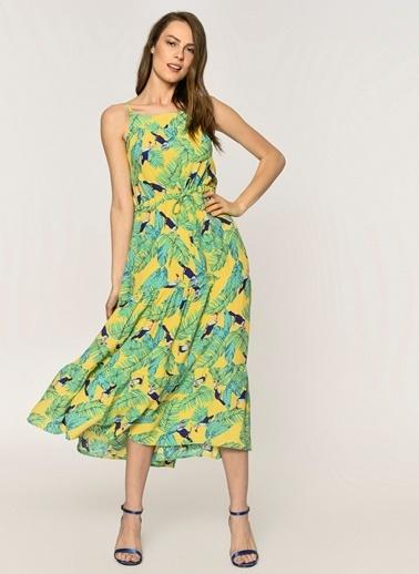 Loves You Askılı Krinkıl Yaprak Baskılı Elbise Sarı